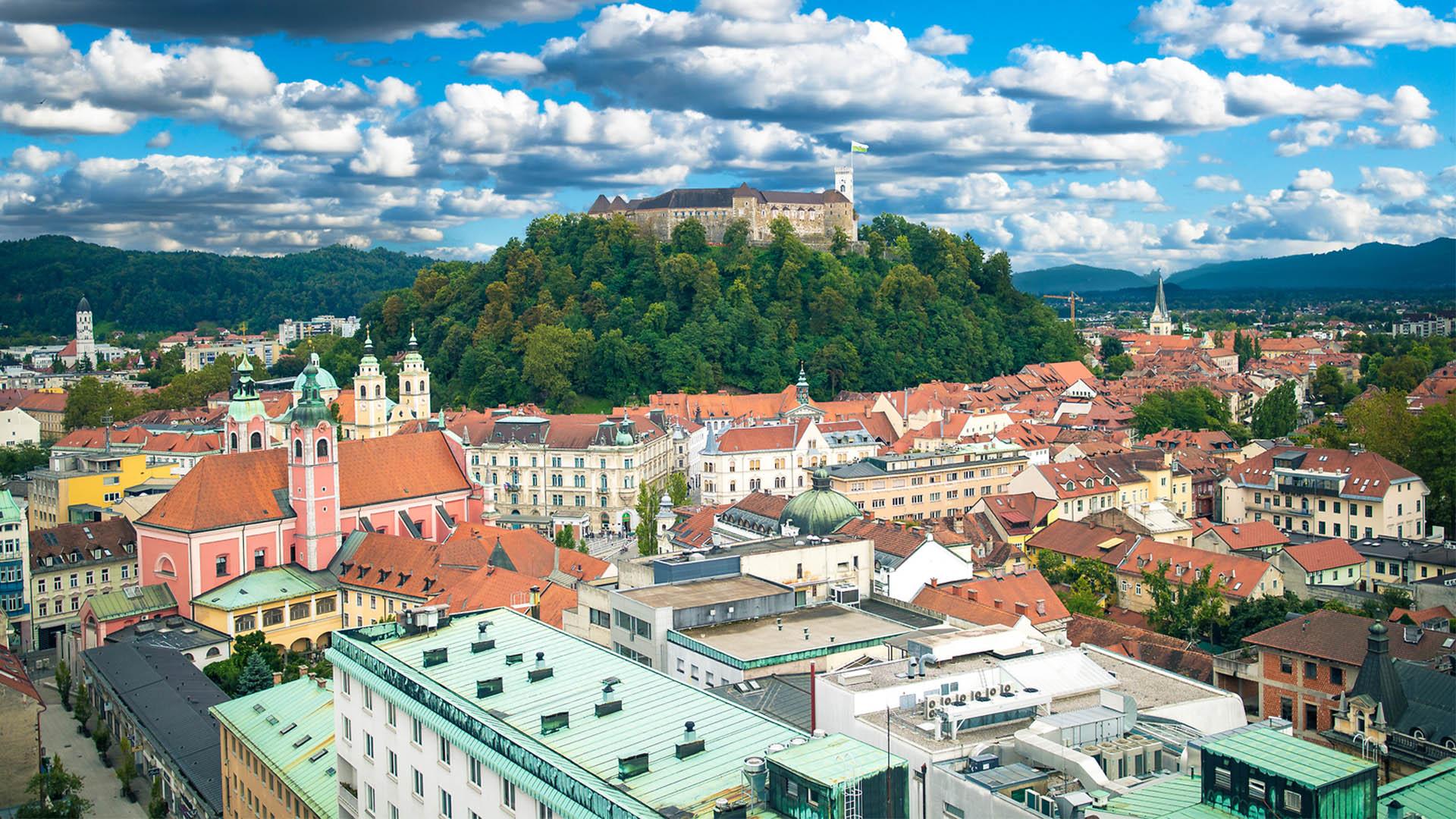Ljubljana Castle on Castle Hill above downtown Ljubljana