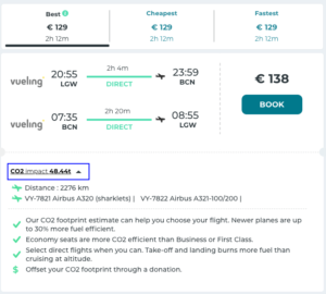 Co2 impact demo in goetica flight search result